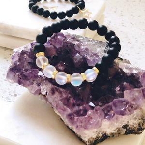 "Onyx and Aura Quartz Mala Bracelet 6"""